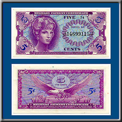 5 Five Cents Series 641 Mpc Military Payment Certificate Gem Uncirculated