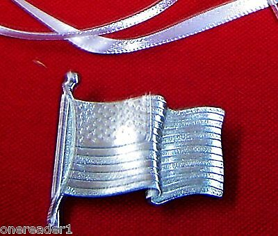 Longaberger Pewter Old Glory American Flag Tie On / Pin -  NEW IN BOX