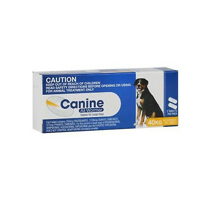 Value Plus Canine All Wormer 40Kg (2 Pack) Yellow For Dogs Roundworm Hookworm