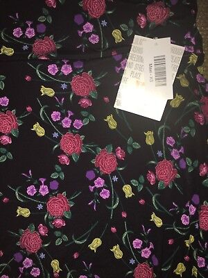 LuLaRoe XS Maxi Skirt / Dress Black with Neon Pink Red Floral Roses Unicorn