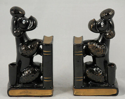 VTG/Retro Mid-Century 1950's Black/Gold French Poodle Bookends JAPAN