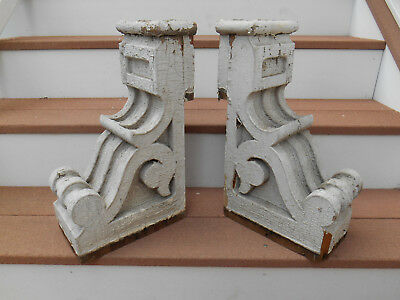 Pair Antique Chippy White wood Corbels Architectural Salvage Victorian 1 of 2