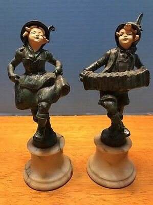 ATQ Art Deco 1920s VTG Cold Painted Heavy Bronze Statues Cherub Marble Base Exc
