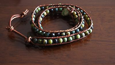 African Turquoise Wrap Around Bracelet Natural Crystals Medley Heal Ideal Gift