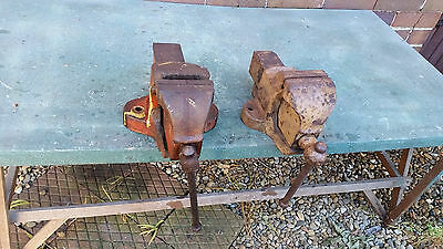 """2 x 4"""" bench vises - Joplin and unmarked"""