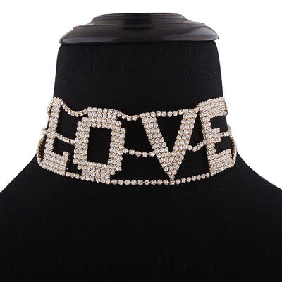 New Full Crystal Big Letter LOVE Chokers Necklace Shiny Rhinestone Neck Jewelry