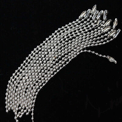 2.4mm 10cm,15cm Metal Silver Ball Bead Chain Connector Clasp Dog Tag Keychain