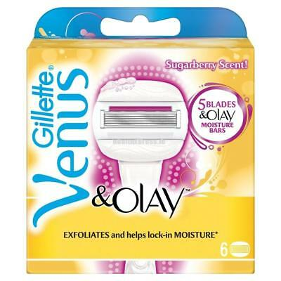 Gillette Venus and Olay Sugarberry Razor Blades - Scented Cartridges - Pack of 6