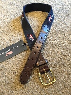 Vineyard Vines Flag Whale Club Belt Boys Size 24