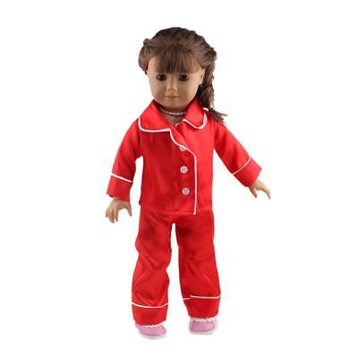 """Red Pajamas PJS Clothes for American/Our Generation/Journey Girl 18"""" Dolls"""
