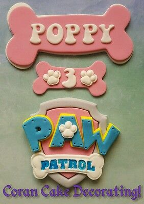 Edible Fondant Paw Patrol 9cm Cake Toppers + bones with name/age boys or girls!