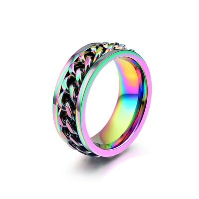 8MM Titanium Steel Spinner Band Men's Multi-Color Wedding Chain Ring Size 7-12