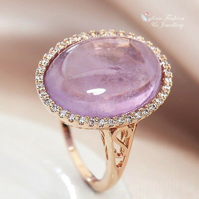 18K Rose Gold Filled Semi-Precious Stone Stunning Oval Cut Light lilac Ring