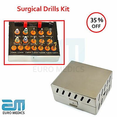 Dental Surgical Implant Drills Kit 17pcs Ratchet Hex Drivers Parallel Pin NEW CE