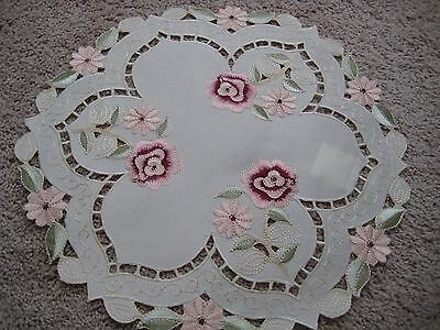 "Doily 15""  round Rose flower decor  embroidered lace embroidery"