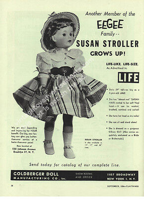 1954 EEGEE Susan Stroller Grows Up Life Like Life Size Toy Trade Ad