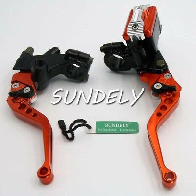 "7/8"" CNC Motorbike Cylinder Clutch Lever Orange Handlebar Hydraulic Brake Hot"