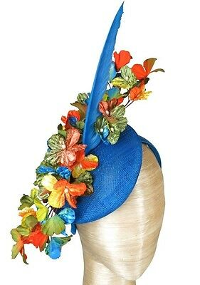 Fiona Powell Royal Blue Flower Fascinator Feather Races Wedding Melbourne Cup