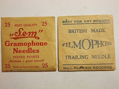 2 Vintage FULL Packets of Gramophone Needles. VG