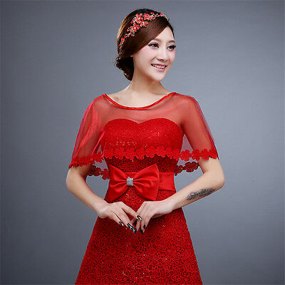 Red Lace Wedding Cape Bride Bridal Wrap Wedding Shawl Bolero For Wedding Dress