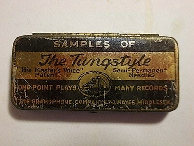 Old HMV Tungstyle Sample Phonograph Gramophone Needle Tin. VG