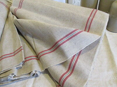 Vintage French Grainsack Torchon Linen UNUSED Red Green stripe.Sold by the metre