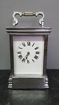 Silvered 8 Day Carriage Clock with Strike, Fully Working