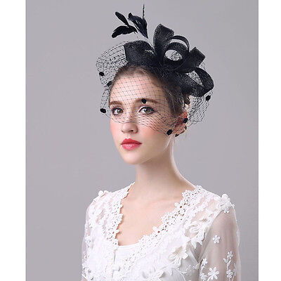 Fancy Women's Fascinator Hat Yarn Feather Prom Cocktail Wedding Party Headwear