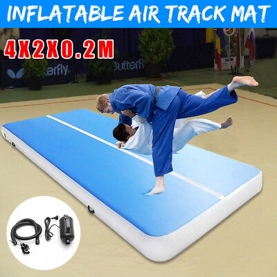 4x2M Inflatable Gym Mat Air Tumbling Track Gymnastics Cheerleading Pad w/ Pump