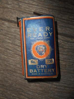 Scarce C 1930 's Ever Ready Dry battery Australia paper label & battery no 730