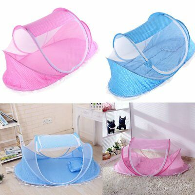 Baby Infant Portable Travel Bed Crib Canopy Mosquito Net Tent&Mattress Blue Pink