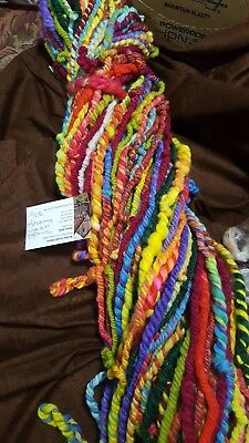 767Gr Handspun Wool Fibre Glitz,navajo Plyed Knitting Craft Textile Art