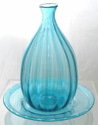 Antique Blown Molded Blue Aqua Glass Bottle and Plate Ohio 19th Century