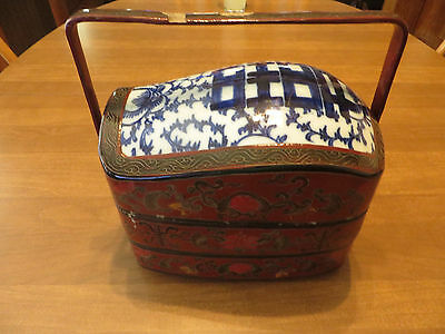 Vintage Chinese Paper Maiche Lacquer And Porcelain Top Wedding Basket Accent Box