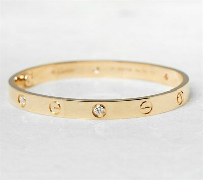 Cartier 18K Yellow Gold 4 Diamond Love Bracelet B6035917 - Com923
