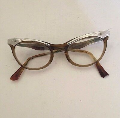 Vintage Cat Eye Glasses Bi Focal Silver Color adornment