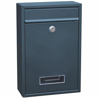 Steel Square Post Box Grey Outdoor House Mail Letter Wall Lock By Home Discount