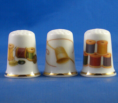 Fine Porcelain China Thimbles - Set Of Three Sewing Collection