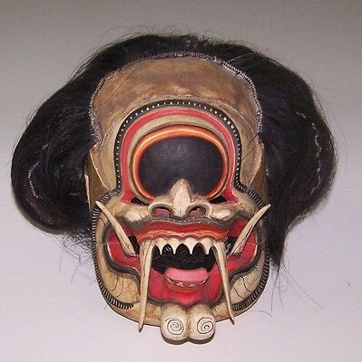 Japanese Death Mask Wood Real Hair Harness
