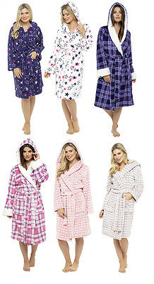Ladies Hooded Coral Fleece Bath Robe Dressing Gown with Belt and Pockets