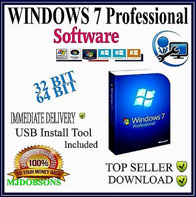 Microsoft Windows 7  Pro  32 & 64 bit in one ISO Software  Instant Dispatch
