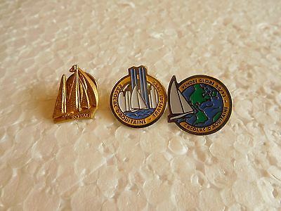 Job lot of 3 vintage yacht racing related metal lapel pins
