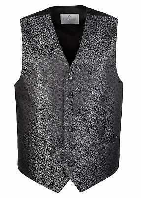 Men's Lloyd Attree & Smith Fancy Waistcoat - Black/Grey Vine Pattern