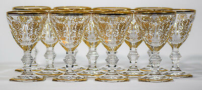 12 Baccarat Gilded Harcourt Empire Wine Glasses