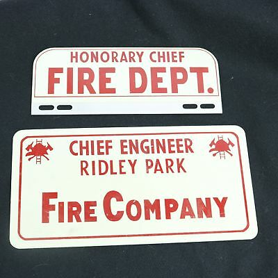 Ridley Park PA Fire Dept Company Licence Plate Topper Honorary Chief Engineer
