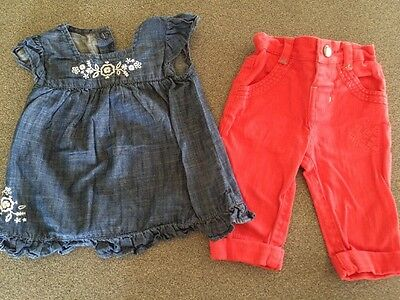 Baby Girl Bundle Jeans And Denim Top Age 0-3 Months