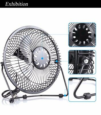 "Metal 6"" Inch USB Home Office PC Computer Laptop Desk Desktop Fan 360 Rotation"
