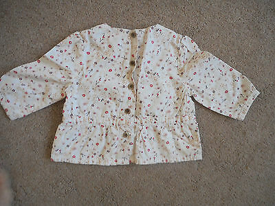 Coln&Collne baby girl long sleeved top flora pattern on cream 6 mths
