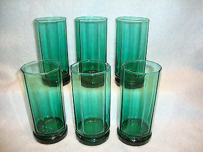 Set of 6 Anchor Hocking Essex Emerald Green Tall Glasses Tumblers EUC