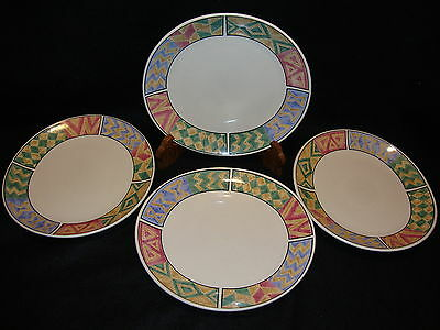 SAKURA PUEBLO Oval DINNER PLATES Lot x 4 Majesticware 1996 Designed Sue Zipkin